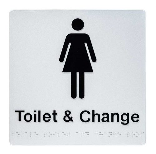 Braille Sign Toilets and Change